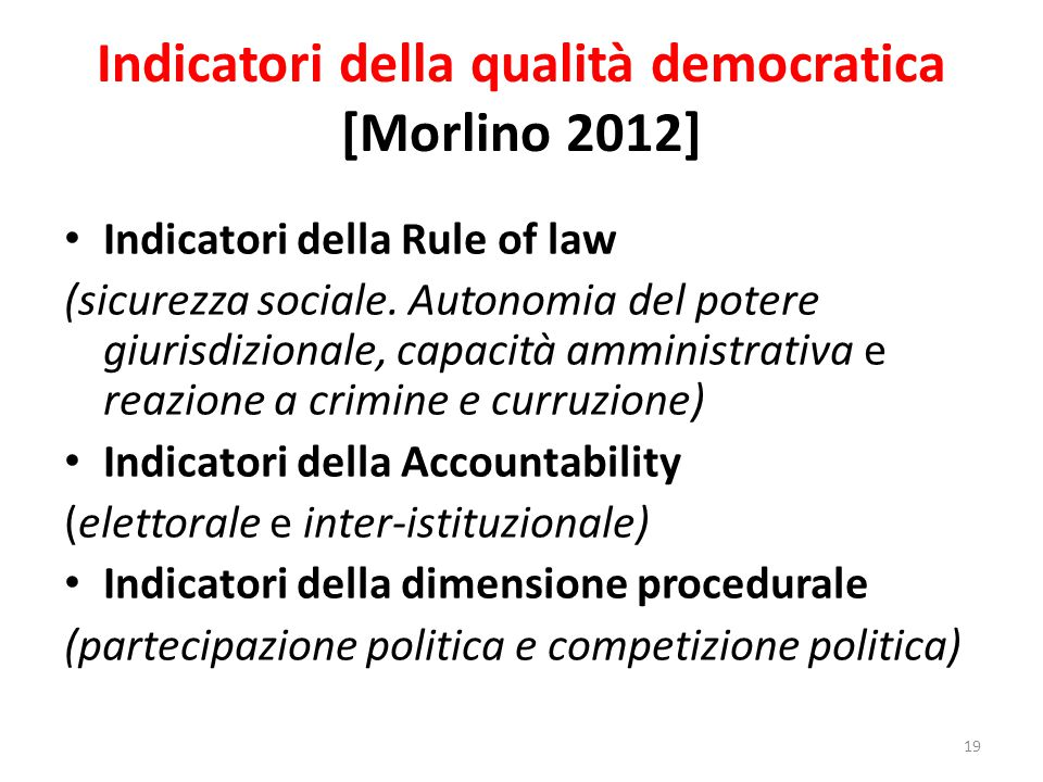 Indicatori della qualità democratica [Morlino 2012]